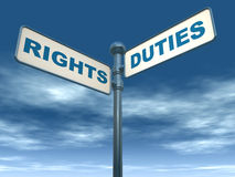 Rights and duties. Road banner showing rights and duties, against a blue sky, concept of doing the right thing Royalty Free Stock Image