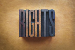 Rights. The word RIGHTS written in vintage letterpress type stock photography