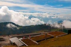 Rigi Kulm järnvägsstation på det Rigi berget, schweiziska fjällängar arkivbild