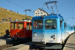 Two trains on top of Mount Rigi, Switzerland stock images