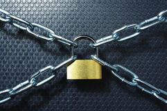 Rigid control. Padlock and chain on black dots background Royalty Free Stock Image