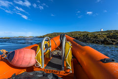 Rigid inflatable boat bow. Bow of a Rigid inflatable boat out on sea on a sunny day Royalty Free Stock Photography