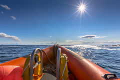 Rigid inflatable boat. Out on sea on a sunny day Royalty Free Stock Photos