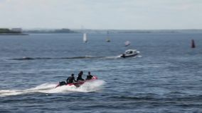 Rigid Inflatable Boat slow motion. Tracking shot stock video