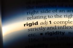 Rigid. Word in a dictionary.  concept stock images