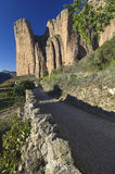 Riglos. Rural road that leads to Riglos  in Spain Royalty Free Stock Image