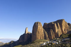 Riglos. View of the mountains known as Mallos of Riglos, Spain Stock Photo