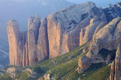 Riglos Mountains. Sunset on the rocky crags of Riglos; Huesca; Spain Royalty Free Stock Photo