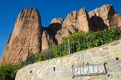 Riglos Mountains in Spain. Riglos Mountains, known as Mallos de Riglos, Riglos, Huesca Province, Aragon, Spain Royalty Free Stock Image