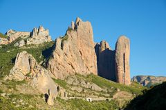 Riglos Mountains in Spain. Riglos Mountains, known as Mallos de Riglos, Riglos, Huesca Province, Aragon, Spain Stock Photo
