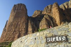 Riglos. Rock spires known as Mallos de Riglos, Huesca, Aragon, Spain Stock Photos