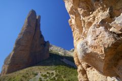 Riglos. Rock spires known as Mallos de Riglos, Huesca, Aragon, Spain Stock Photography