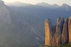 Riglos. Rock spires known as Mallos de Riglos, Huesca, Aragon, Spain Stock Images