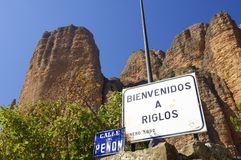 Riglos. Rock spires known as Mallos de Riglos, Huesca, Aragon, Spain Stock Image