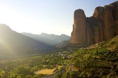 Riglos. Rock spires known as Mallos de Riglos, Huesca, Aragon, Spain Stock Image