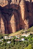 Spectacular view of Los Mallos de Riglos village. Riglos village with the cliffs Los Mallos is a paradise for climbing y the Spanish area of the Pyrenees Stock Photo