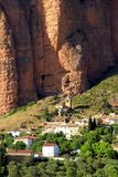 Spectacular view of Los Mallos de Riglos village. Riglos village with the cliffs Los Mallos is a paradise for climbing y the Spanish area of the Pyrenees Royalty Free Stock Image