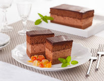 Rigo Jancsi cake. Rigó Jancsi is a traditional Hungarian cube-shaped chocolate sponge cake and chocolate cream pastry royalty free stock photography