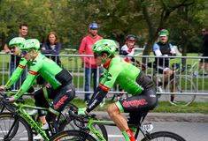 Rigoberto Uran training at Montreal Grand Prix Cycliste on September 9 2017. Rigoberto Uran of canon dale drapac newly EF training at Montreal Grand Prix Stock Image