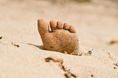 Rigor mortis on the beach. Two feet on the beach in rigor mortis protrude from the sand Stock Photo