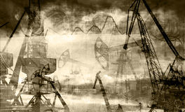 Rigs on the background of dollars and graphics black & white photos, double exposure.  stock photo
