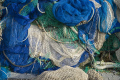 rigs and fishing nets with a port in Mallorca, Spain. Detail of Stock Image