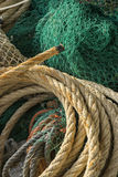 rigs and fishing nets with a port in Mallorca, Spain. Detail of Stock Photography