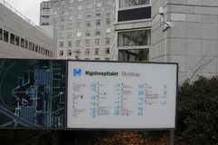 RIGSHOSPITAL GLOSTRUP W GLOSTRUP DANI obrazy stock