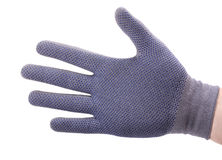 Rigth hand in cotton work glove. On white Stock Photography