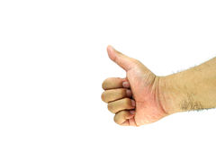 Rigth hand thump up , isolate on white background Stock Photo