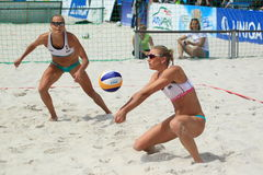 Riikka Lehtonen - volleyball de plage Photographie stock