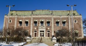 Riis Park Fieldhouse. This is a Winter picture of the historic Riis Park Fieldhouse located in the Belmont-Cragin neighborhood of Chicago, Illinois in Cook Royalty Free Stock Photos