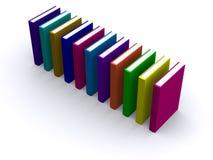 Rij van 3d boeken Stock Foto