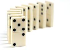 Rij van Antieke Domino's Royalty-vrije Stock Fotografie