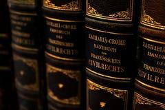 Rij van antieke handboeken over het Franse burgerlijk recht met leerdekking en Duitse titels in gouden brieven royalty-vrije stock fotografie