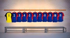 Rij van Blauwe en Gele Voetbaloverhemden 1-11 Royalty-vrije Stock Afbeeldingen