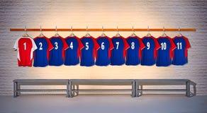 Rij van Blauwe en Rode Voetbaloverhemden Stock Afbeeldingen