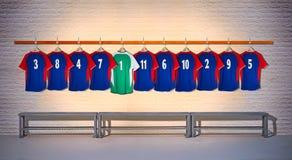 Rij van Blauwe Voetbaloverhemden Royalty-vrije Stock Afbeeldingen