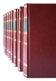 Rij van boeken met rode harde leerdekking Stock Afbeeldingen