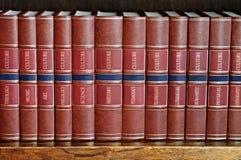 Rij van boeken op een plank met titels in het Engels Stock Foto