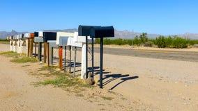 Rij van brievenbussen in nergens Royalty-vrije Stock Fotografie