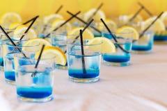 Rij van bue geschotene dranken met citroen stock fotografie