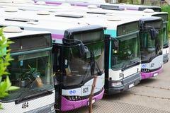 Rij van bussen royalty-vrije stock afbeelding