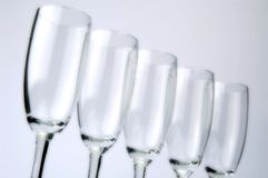Rij van champagneglazen Stock Afbeelding