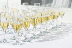 Rij van champagneglazen Royalty-vrije Stock Foto's