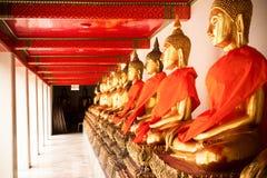 Rij van de Heilige beelden van Boedha Stock Fotografie