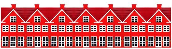 Rij van de Huizen van het Stuk speelgoed stock afbeelding