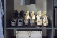 Rij van de schoenen van vrouwen op zwarte plank Royalty-vrije Stock Afbeeldingen