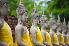 Rij van de Status van Boedha in Wat Yai Chaimongkol Royalty-vrije Stock Fotografie