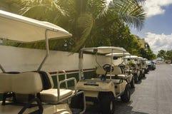 Rij van Golfkarren op een Tropisch Eiland worden geparkeerd dat Stock Afbeeldingen